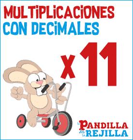Juego Interactivo para Multiplicar con Decimales Tabla del 11