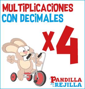Juego Interactivo para Multiplicar con Decimales Tabla del 4