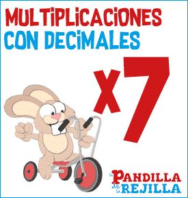 Juego Interactivo para Multiplicar con Decimales Tabla del 7