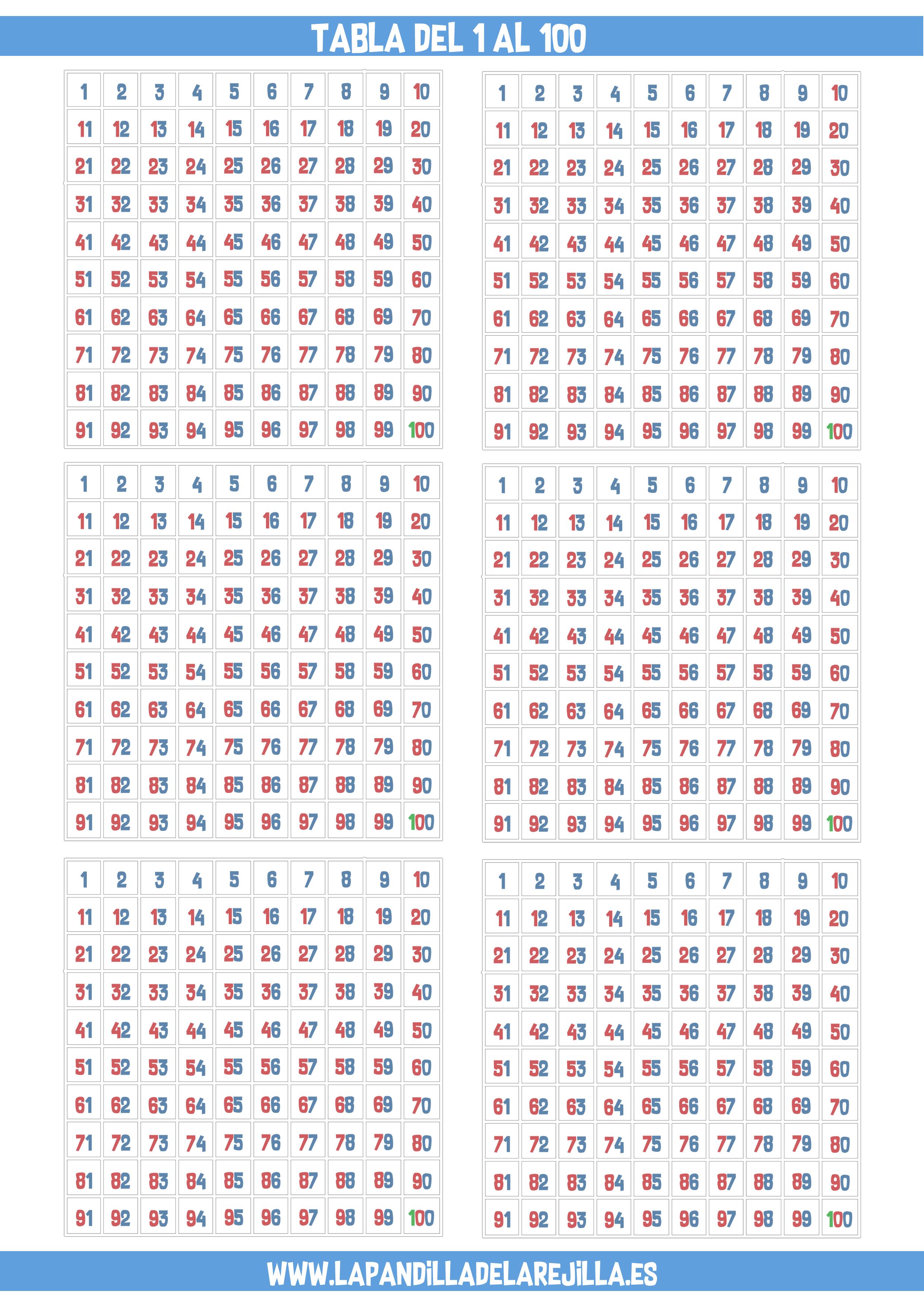 tabla del 100 para matemáticas ABN