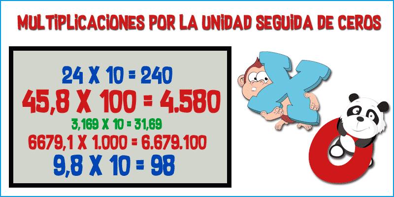 Multiplicar por 10, 100 y 1000