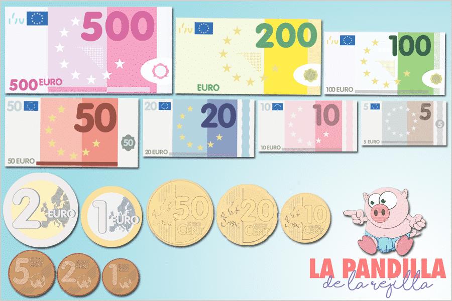 Dibujos de monedas y billetes de euro